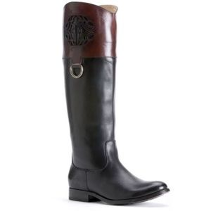FRYE Melissa Logo Black Brown Leather Riding Boots